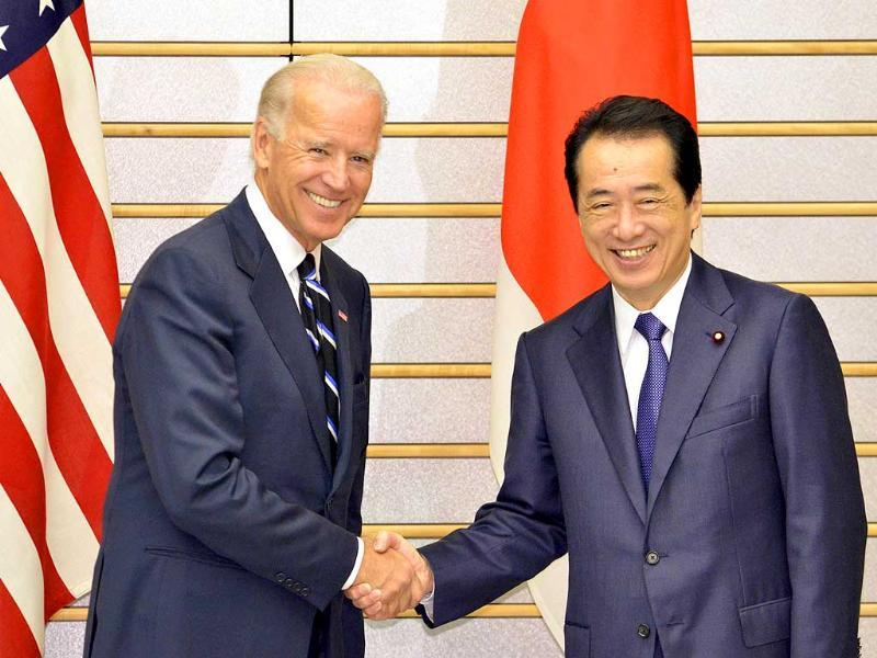 US vice president Joe Biden meets Japan's Prime Minister Naoto Kan during their talks at the latter's official residence in Tokyo.