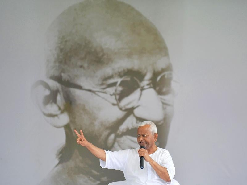 Anti-corruption activist Anna Hazare gestures during a rally at Ram Lila grounds in New Delhi.