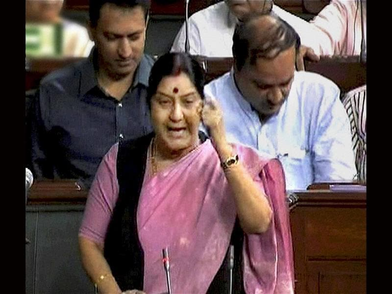 A file photo of external affairs minister Sushma Swaraj in the House in New Delhi. (PTI photo)