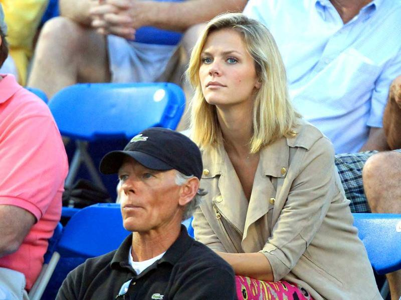 Actress / model Brooklyn Decker watches her husband Andy Roddick play a match during the Winston-Salem Open at the Wake Forest University Tennis Complex in Winston-Salem, North Carolina.