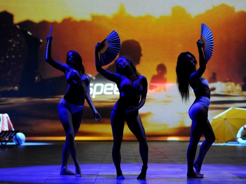 Models parade swimsuits by the iconic Australian brand 'Speedo' during the Sydney Fashion Festival.