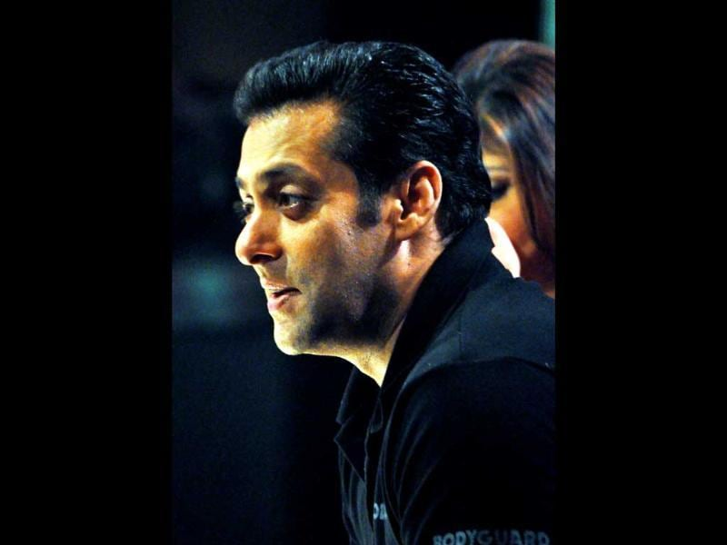 Bollywood actor Salman Khan speaks on sets of Sa Re Ga Ma Pa Little Champs. (AFP)