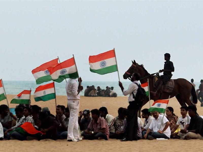 Supporters of social activist Anna Hazare during a protest against corruption at Marina beach in Chennai.
