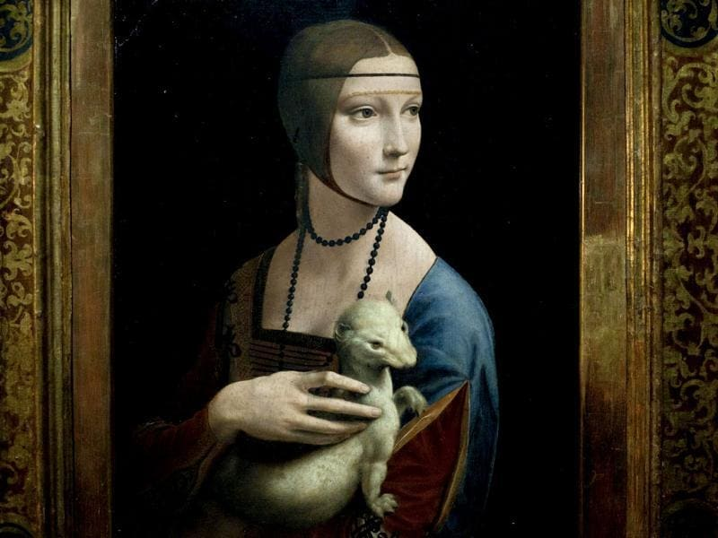 The painting Lady with an Ermine by Leonardo da Vinci is seen at the exhibition Renaissance Faces in Berlin.