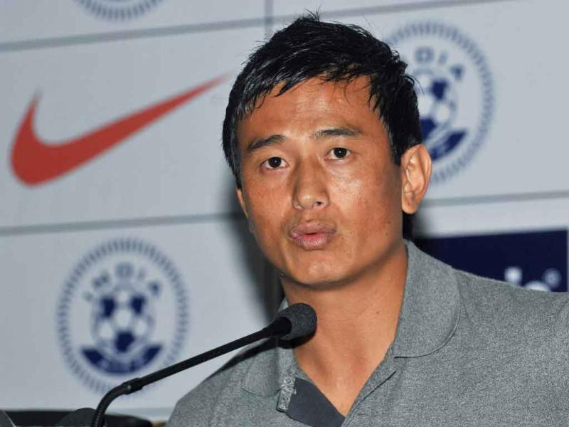 Football player Bhaichung Bhutia announces his retirement from the international football during an event in New Delhi.