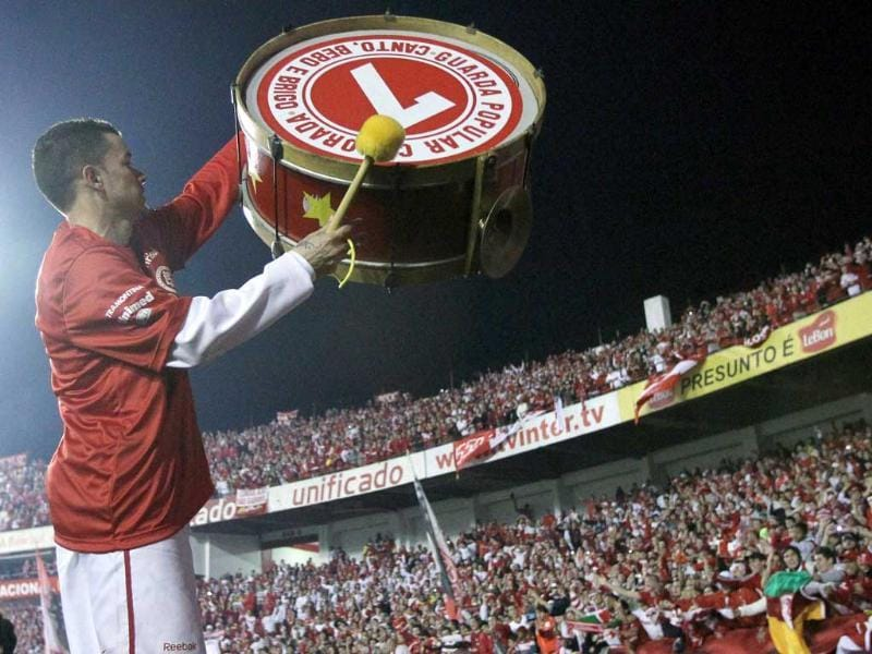 Andres D'Alessandro of Brazil's Internacional celebrates after winning the Recopa Sudamericana final soccer match against Argentina's Independiente in Porto Alegre.