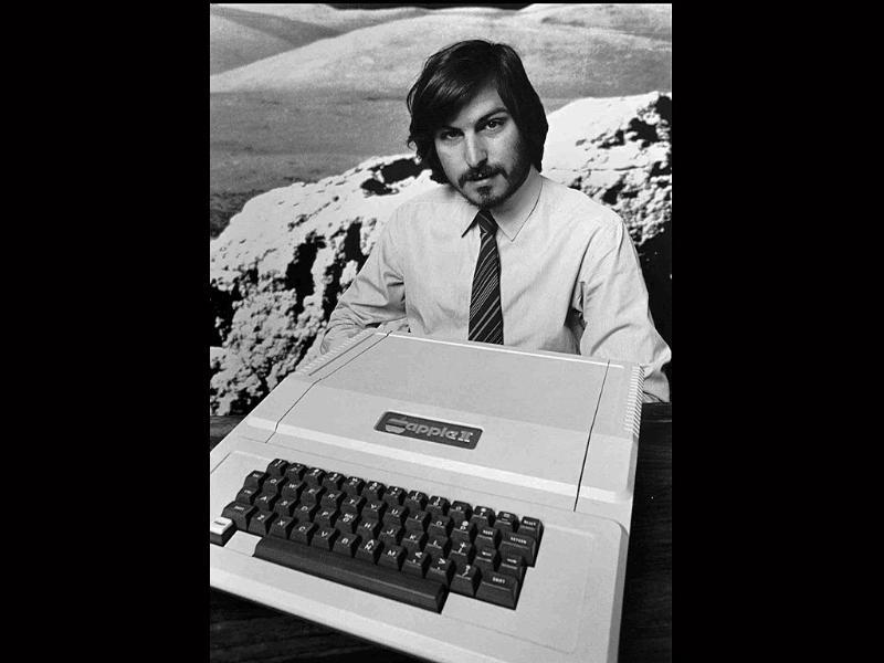 This 1977 file photo shows Apple Computer Inc. founder Steve Jobs as he introduces the new Apple II computer in Cupertino, California.