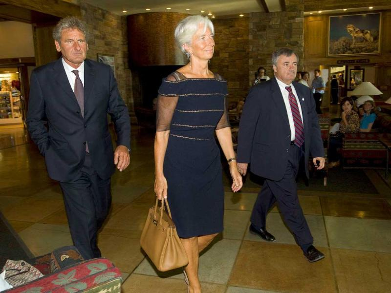 IMF chief Christine Lagarde arrives at the opening reception for the Federal Reserve Bank of Kansas City Economic Policy Symposium in Wyoming.