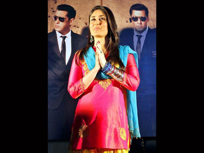 Bollywood actress Kareena Kapoor poses during a news conference to promote her forthcoming movie Bodyguard.