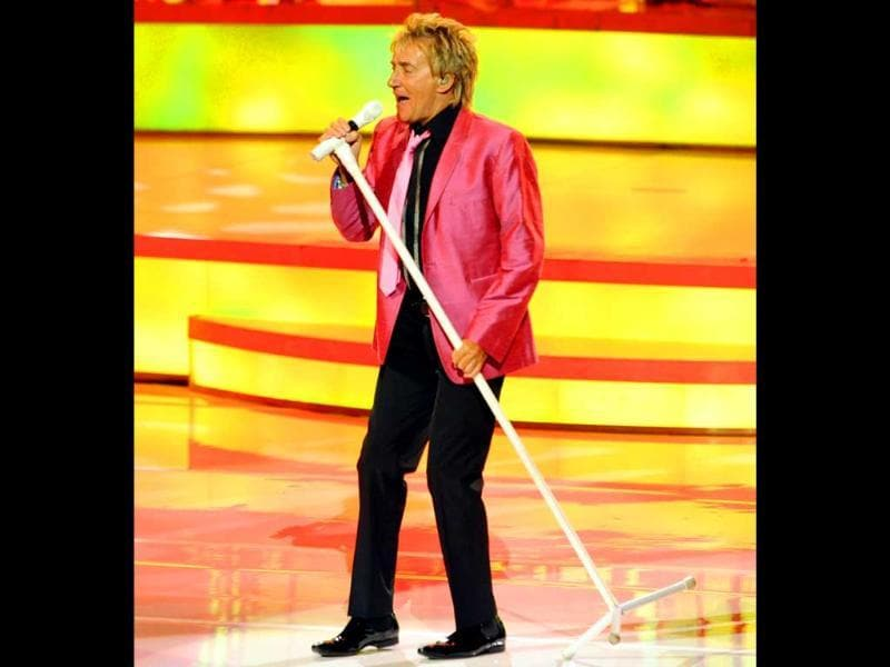Rock legend Rod Stewart performs The Hits during the opening night of a two-year residency at The Colosseum at Caesars Palace in Las Vegas. (AP)