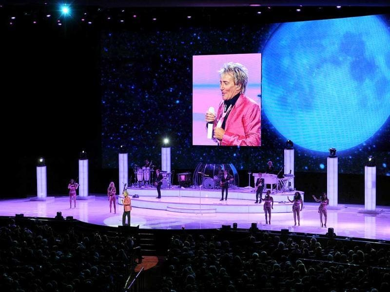 Rod Stewart performs at The Colosseum in Las Vegas. (AP Photo)