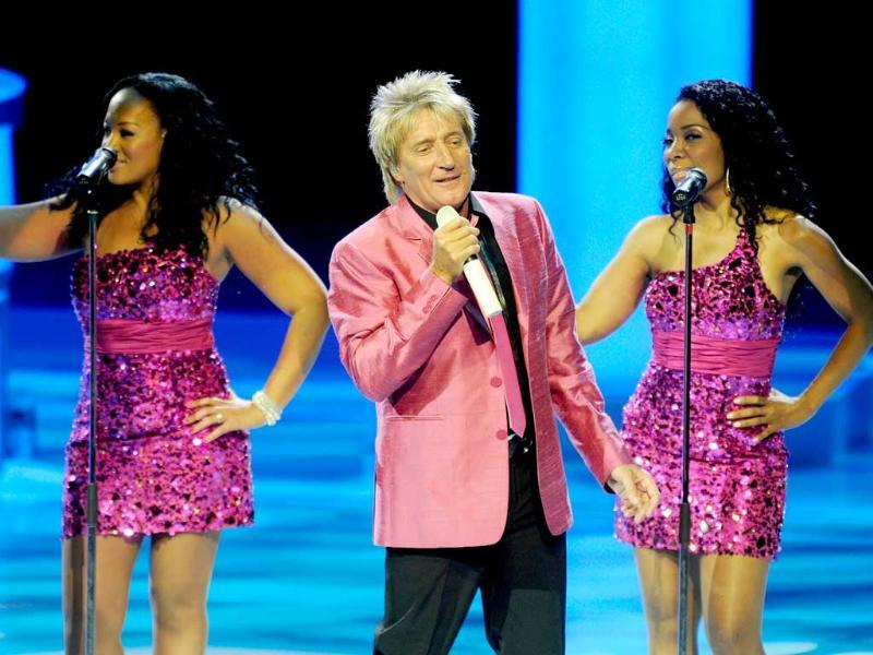 Rod Stewart and singers perform during the launch of his two-year residency Rod Stewart: The Hits at The Colosseum in Las Vegas. (AFP)