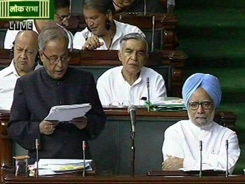 A TV grab shows union finance minister Pranab Mukherjee speaking on Lokpal debate in Lok Sabha in New Delhi.