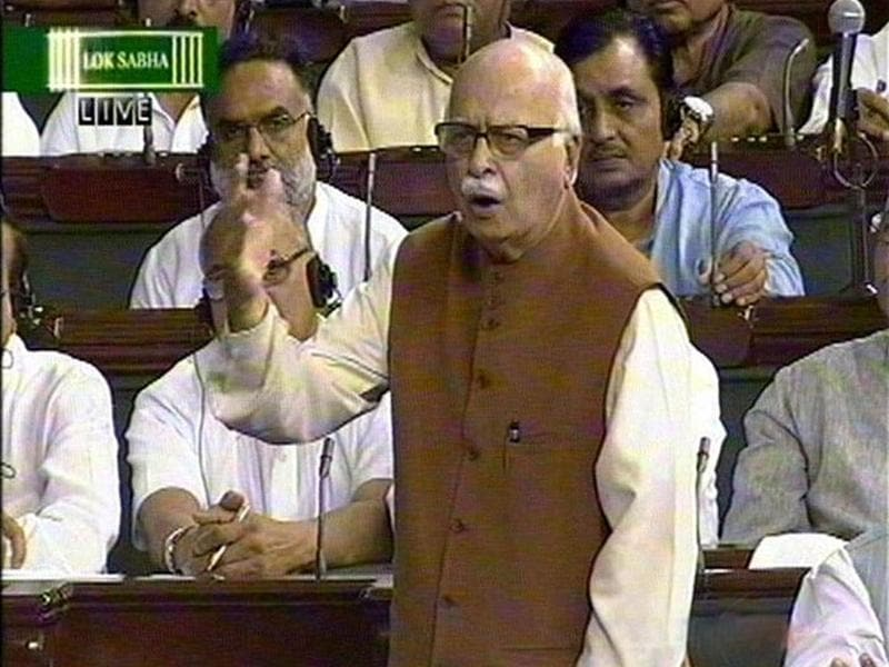 A TV grab shows LK Advani speaking on Lokpal debate in Lok Sabha in New Delhi.
