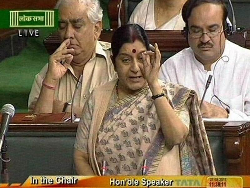 A TV grab shows Sushma Swaraj spaeking on Lokpal Debate in Lok Sabha in New Delhi.