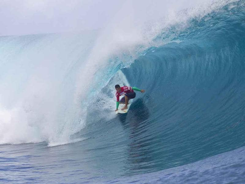 Michel Bourez, of Tahiti, competes during the Billabong Pro Tahiti.