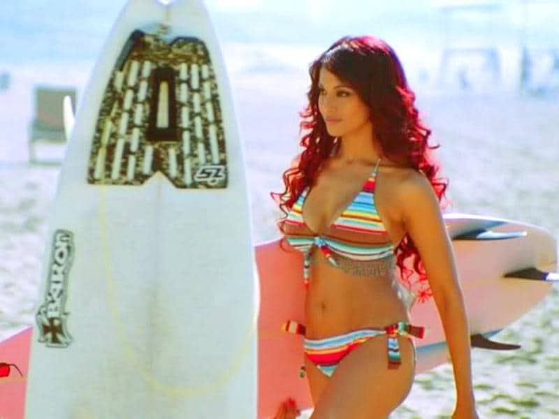 Bipasha Basu looked fit, toned and uber sexy in a rasta bikini in Dhoom 2.