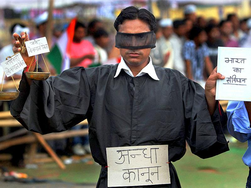 A supporter of Anna Hazare during the protest against corruption at Ramlila Ground in New Delhi on Saturday morning.