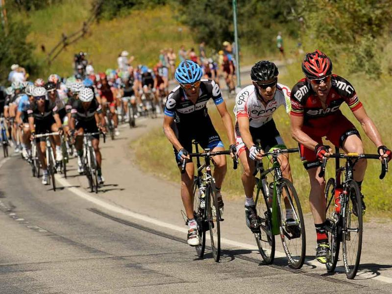 Cadel Evans, right, leads a break while heading up Rabbit Ears Pass just outside of Steamboat Springs, Colo. during the fifth stage of the USA Pro Cycling Challenge.