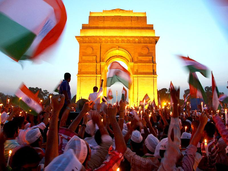 Supporters of Anna Hazare celebrating at India Gate as the government agrees upon Lokpal Bill in New Delhi.