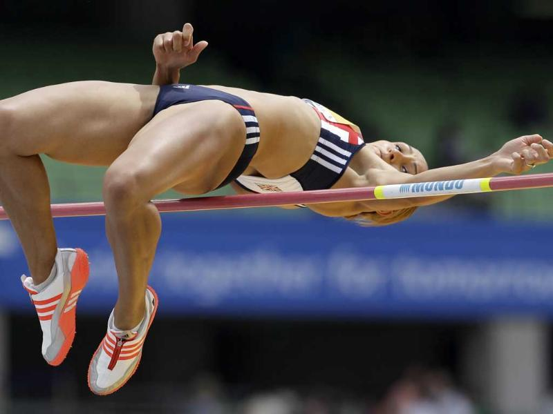 Britain's Jessica Ennis clears the bar in the Heptathlon High Jump at the World Athletics Championships in Daegu, South Korea.