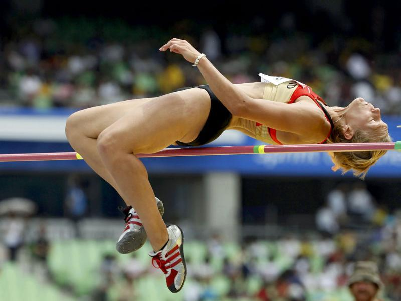 Jennifer Oeser of Germany takes part in the high jump event of the heptathlon at the IAAF World Championships in Daegu.