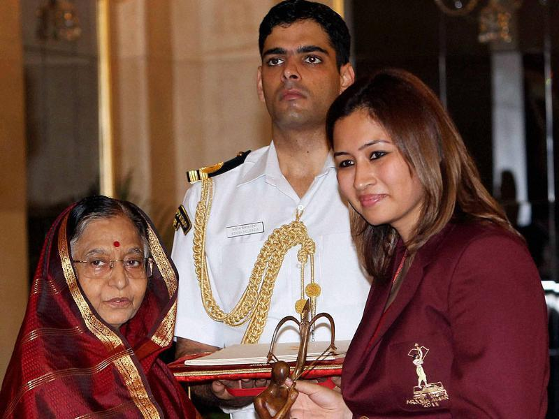 President Pratibha Patil presents Arjuna Award to badminton player Jwala Gutta at Sports and Adventure Awards 2011 function at the Rastrapati Bhavan in New Delhi.