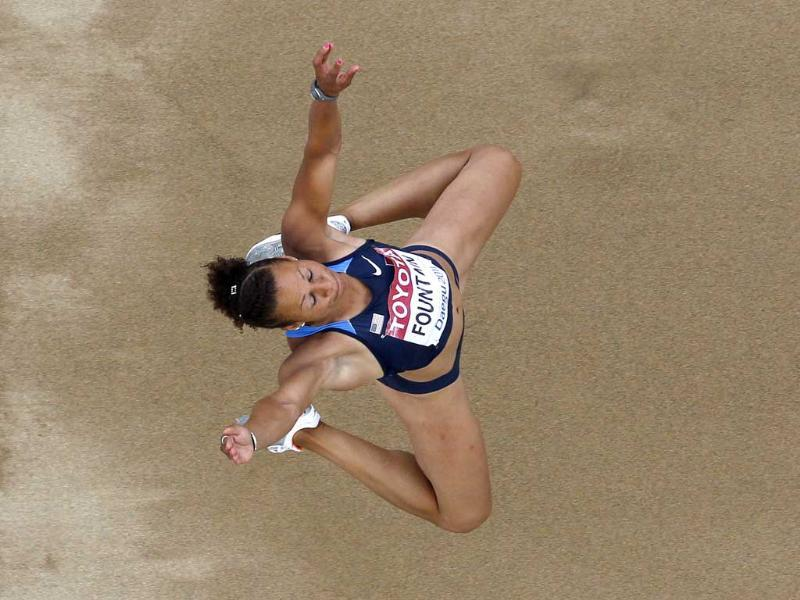 Hyleas Fountain of USA makes an attempt in the Heptathlon Long Jump at the World Athletics Championships in Daegu, South Korea.