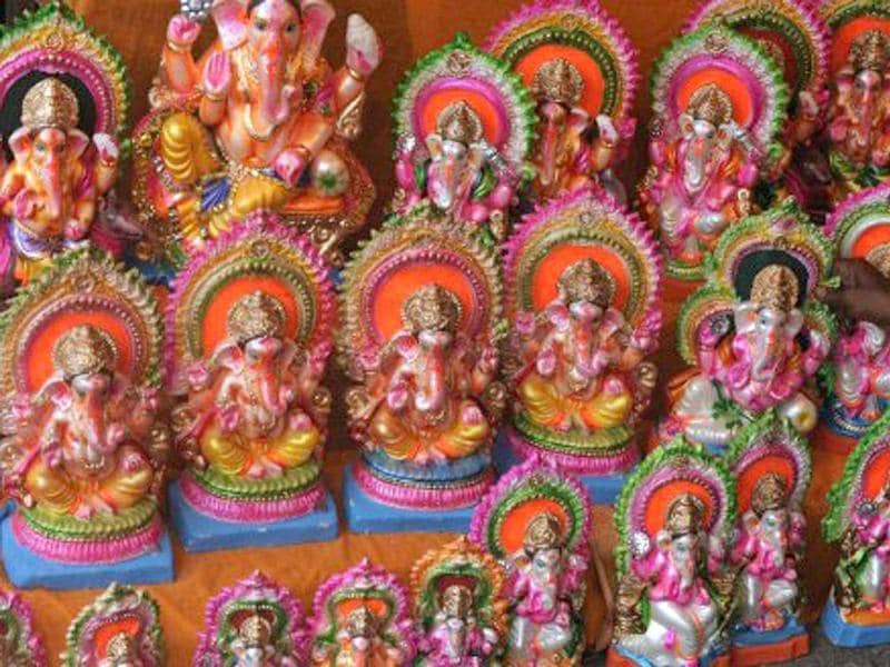 Ganesh idols ready to be sold are arranged at a stall in Siliguri. The 12 day festival begins on September 1.