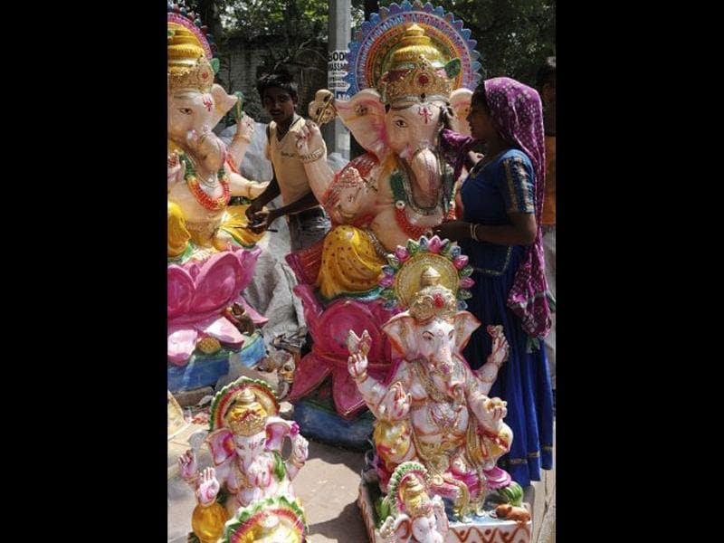 Final touches are given to an idol of Lord Ganesh on the eve of the 12 day festival starting September 1.