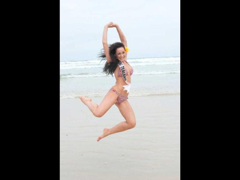 Miss New Zealand Priyani Puketapu jumps for joy and this photo. Photo by AFP/Miss Universe Organization