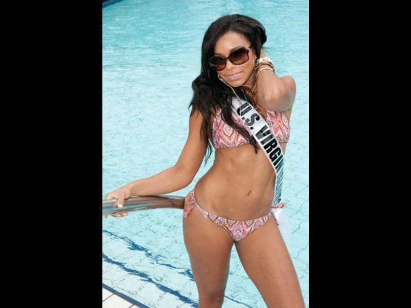 Miss US Virgin Islands Alexandrya Evans looks poolside perfect in her Catalina Brasil swimsuit. Photo by AFP/Miss Universe Organization
