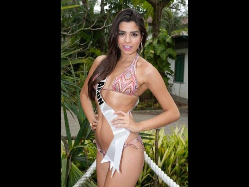 Miss Lebanon Yara El Khoury-Mikhael poses in her Catalina Brasil swimsuit while in Guaruja, Brazil. Photo by AFP/Miss Universe Organization