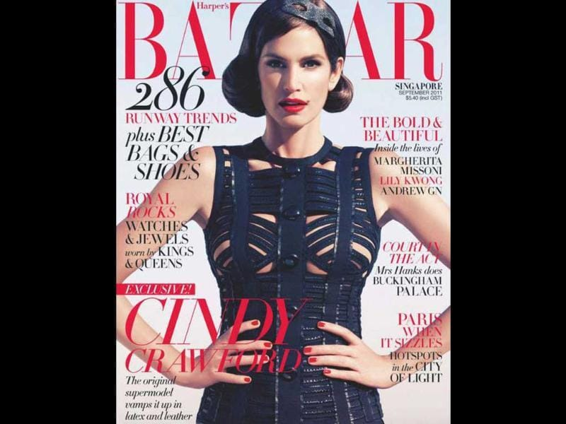 Harper's Bazaar Singapore: Cindy CrawfordThe original supermodel vamps it up in latex and leather.