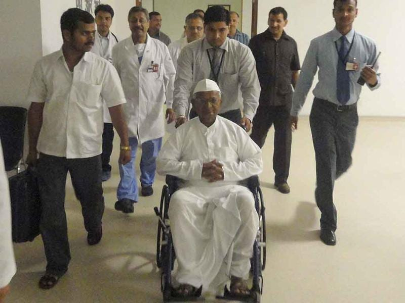 Anna Hazare is wheeled out on being discharged from Medanta — The Medicity in Gurgaon.