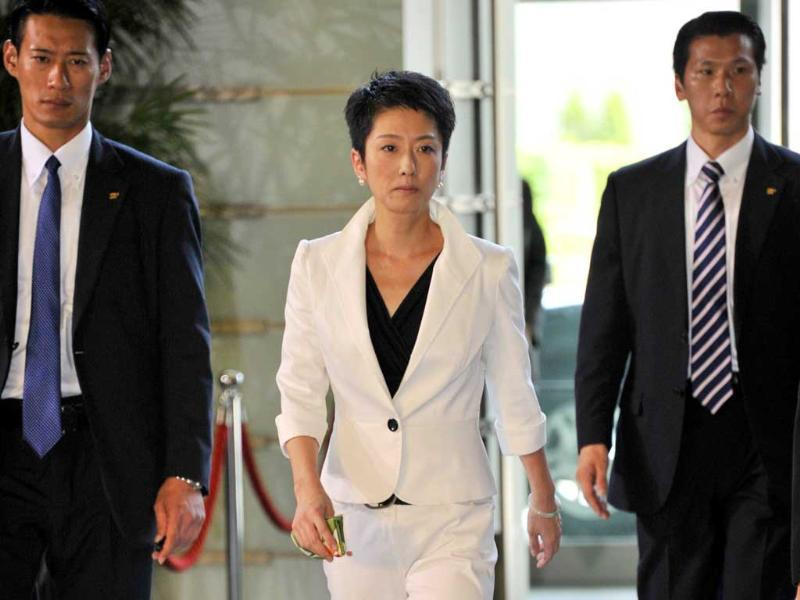 Newly appointed Government Revitalization Minister Renho (C) enters the prime minister's official residence in Tokyo. Japan's new Prime Minister Yoshihiko Noda named a cabinet with which he hopes to drive a fragile post-earthquake recovery forward and build party unity.