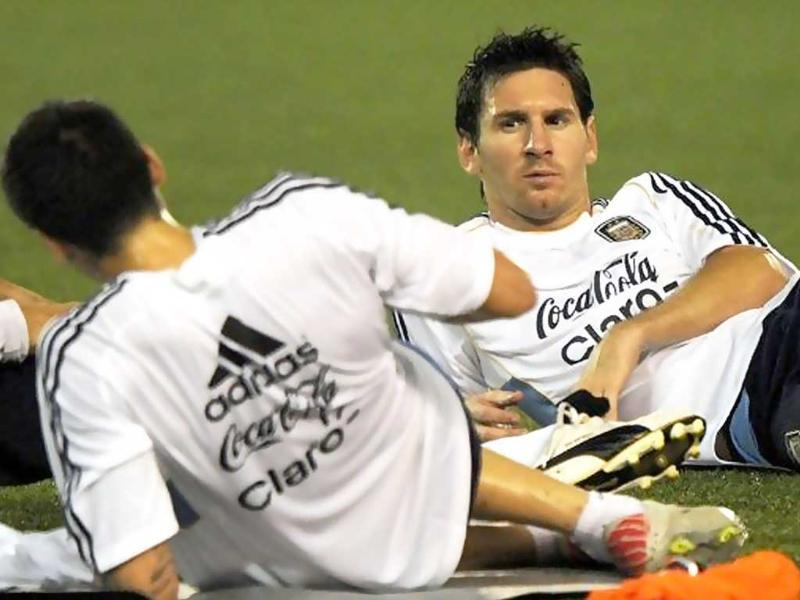 Argentine footballer Lionel Messi relaxes during a training session ahead of the match in Kolkata.