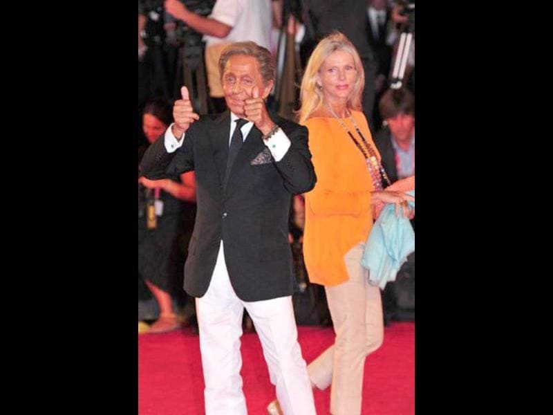 Italian designer Valentino and guest arrive at Venice Lido for the screening of Madonna's W.E.