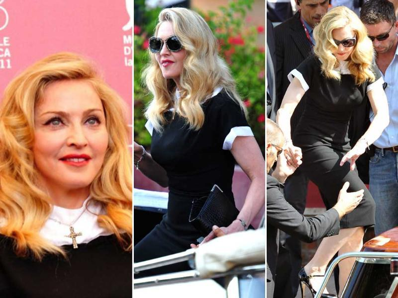Singer and film director Madonna shines at the photocall for W.E., following which she jets sets off on a speed boat.
