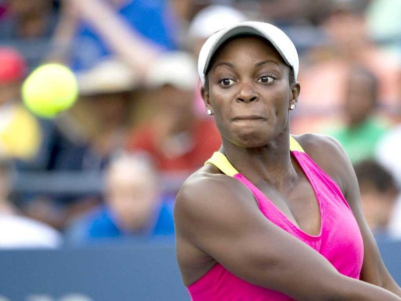 Sloane Stephens of the US hits a return during her women's match against Shahar Peer of Israel at the 2011 US Open tennis tournament in New York.