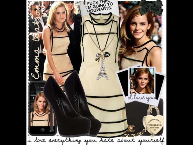 Beige and black: Emma's Christopher Kane dress and Zara shoes have all the goodness of a smart summer dress.