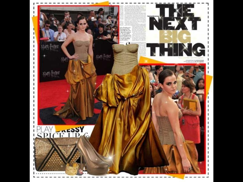 Sculptured style: Emma Watson stunned all in her Bottega Veneta dress at the Harry Potter and the Deathly Hallows: Part II premiere.