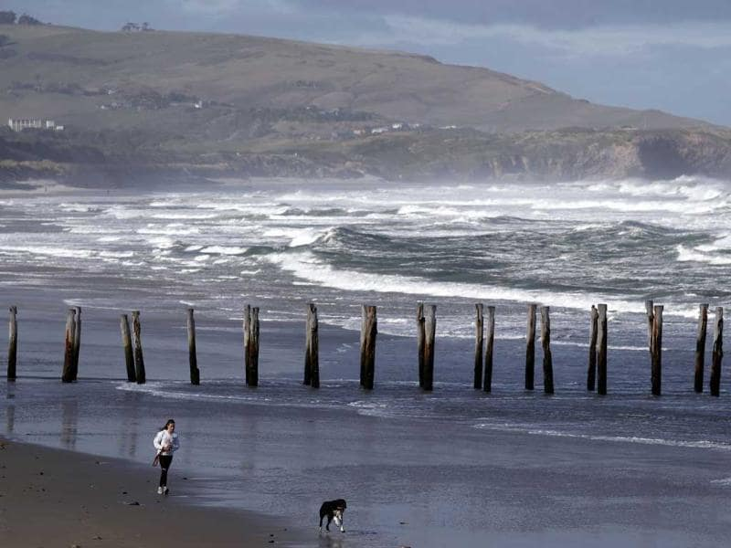 A woman runs with her dog on Saint Claire beach, on the coast of Dunedin. Dunedin will be one of the venues of the 2011 Rugby World Cup.