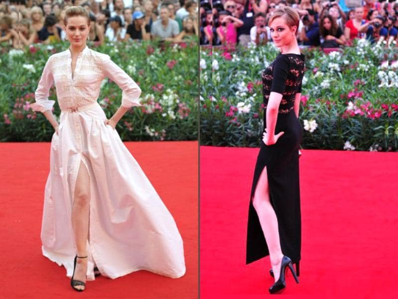 Hollywood actor Evan Rachel Wood shows some leg with her selections for the redcarpet.