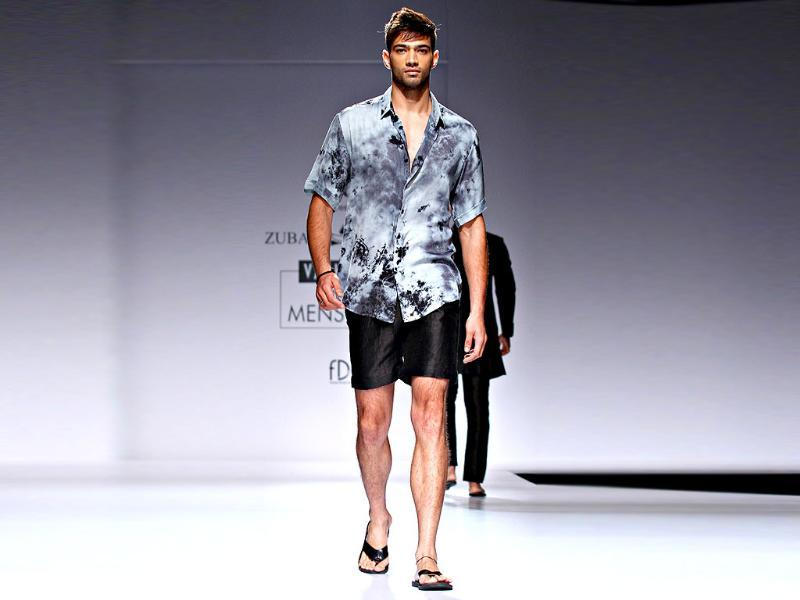 A model dons a beach boy look by Zubair Kirmani.