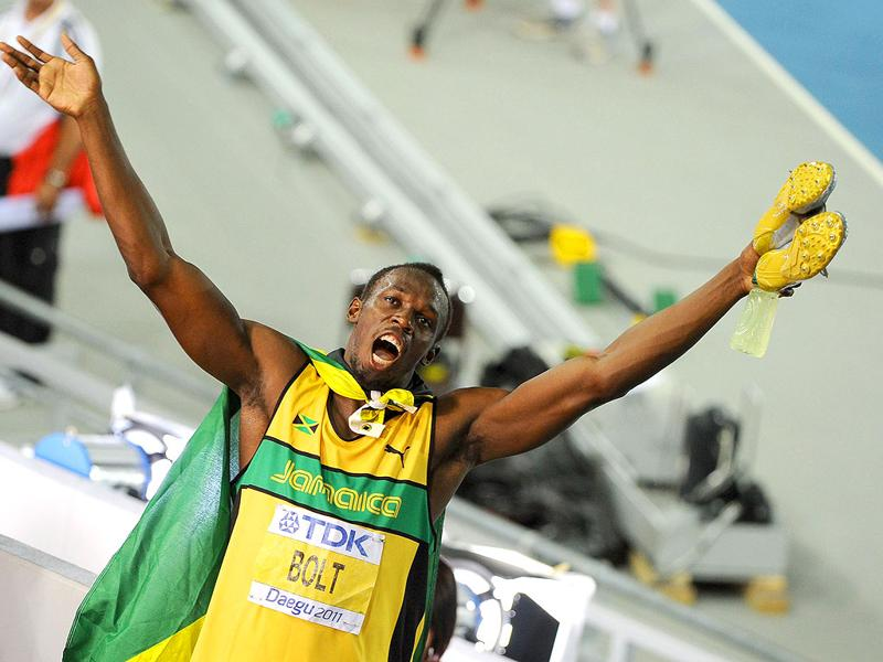 Jamaica's Usain Bolt celebrates winning gold in the men's 200 metres final at the International Association of Athletics Federations (IAAF) World Championships in Daegu.