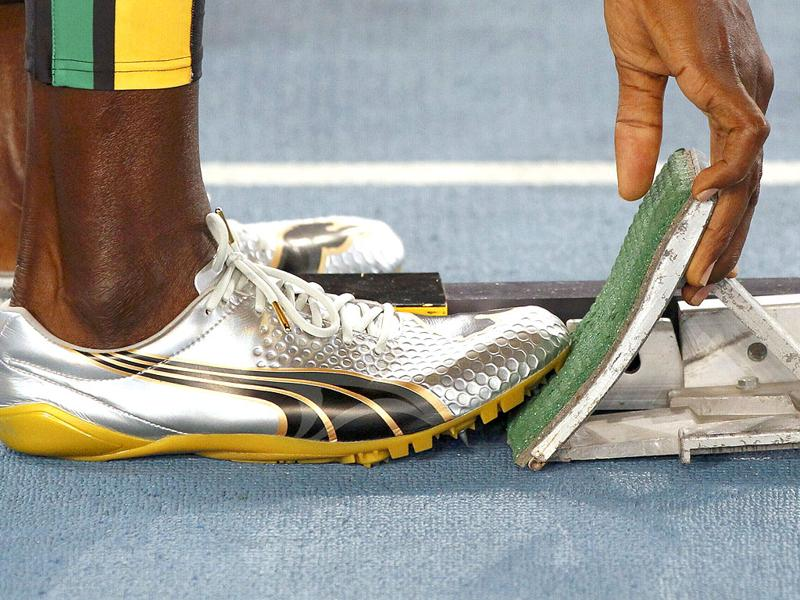 Usain Bolt of Jamaica poses prepares for the men's 200 metres final at the IAAF World Athletics Championships in Daegu.