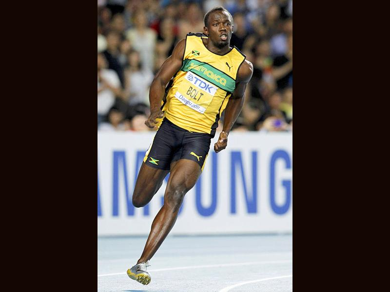 Usain Bolt of Jamaica runs through a corner on the way to winning the men's 200 metres final at the IAAF World Championships in Daegu.