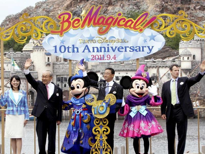 (L-R) Tokyo Disney Resort ambassador Tomoko Baba, Oriental Land chairman and CEO Toshio Kagami, Mickey Mouse, Oriental Land president Kyoichiro Uenishi, Minnie Mouse and Walt Disney Parks and Resort Worldwide chairman Tom Staggs celebrate the 10th anniversary of Tokyo DisneySea at Urayasu city, suburban Tokyo. Tokyo DisneySea will celebrate the entertainment program