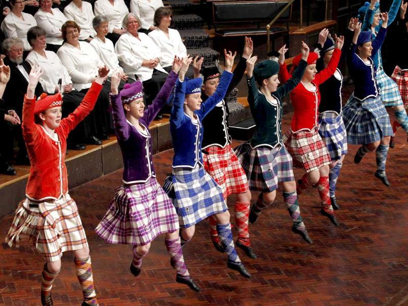 A group of girls perform a Scottish dance during the official welcome ceremony for Argentina's rugby team, for the 2011 Rugby World Cup, at Dunedin City Hall.